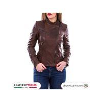 Leather Trend Italy raff - giacca donna in vera pelle colore marrone invecchiato