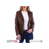 Leather Trend Italy violetta - giacca donna in vera pelle colore marrone morbida