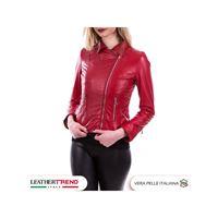 Leather Trend Italy violetta - giacca donna in vera pelle colore rosso morbida