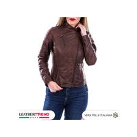 Leather Trend Italy 020 - giacca donna in vera pelle colore marrone oil vintage
