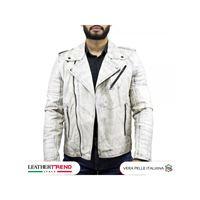 Leather Trend Italy v248 - giacca uomo in vera pelle colore bianco tamponato