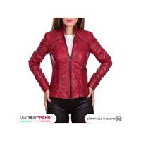 Leather Trend Italy c66 - giacca donna in vera pelle colore rosso tamponato