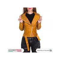 Chiodo donna - giacca borchiata in vera pelle con cintura colore