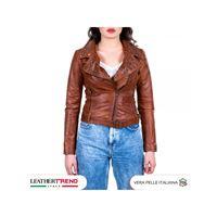 Leather Trend Italy chiodo donna - giacca borchiata in vera pelle con cintura colore