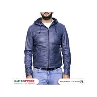 Leather Trend Italy terminator - giacca uomo con cappuccio in vera pelle color blu