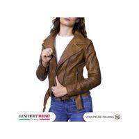 Leather Trend Italy chiodo donna - giacca in vera pelle con cintura colore cuoio