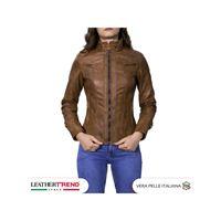 Leather Trend Italy v173 - giacca donna in vera pelle colore cuoio invecchiato