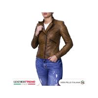 Leather Trend Italy raff - giacca donna in vera pelle colore cuoio invecchiato