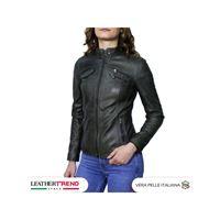 Leather Trend Italy michelina - giacca donna in vera pelle colore verde invecchiato