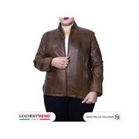 Leather Trend Italy sasha - giacca donna in vera pelle colore marrone invecchiato