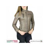 Leather Trend Italy giulia - giacca donna in vera pelle colore fango invecchiato