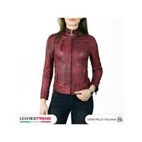 Leather Trend Italy giulia - giacca donna in vera pelle colore rosso invecchiato