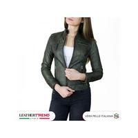 Leather Trend Italy giulia - giacca donna in vera pelle colore verde invecchiato