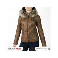 Leather Trend Italy michelina cap - giacca donna con cappuccio in vera pelle colore