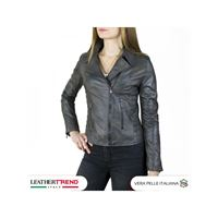 Leather Trend Italy raff - giacca donna in vera pelle colore grigio invecchiato