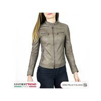 Leather Trend Italy vanessa - giacca donna in vera pelle colore fango invecchiato