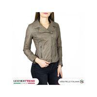 Leather Trend Italy violetta - giacca donna in vera pelle colore fango invecchiato
