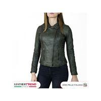 Leather Trend Italy violetta - giacca donna in vera pelle colore verde invecchiato