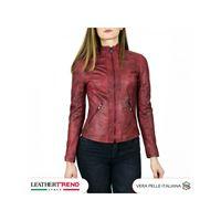Leather Trend Italy zara - giacca donna in vera pelle colore bordeaux invecchiato