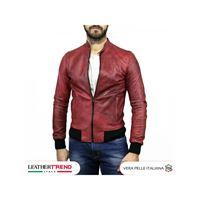Leather Trend Italy bomber napoli - giacca uomo in vera pelle colore bordeaux invecchiato