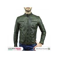 Leather Trend Italy avatar - giacca uomo in vera pelle colore verde invecchiato