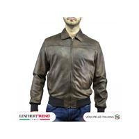 Leather Trend Italy fonzie - bomber uomo in vera pelle colore testa di moro invecchiato