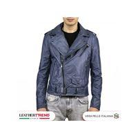 Leather Trend Italy chiodo uomo - giacca in vera pelle colore blu morbido