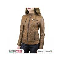 Leather Trend Italy giulia - giacca donna in vera pelle colore cuoio invecchiato