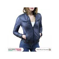Leather Trend Italy vanessa - giacca donna in vera pelle colore blu invecchiato