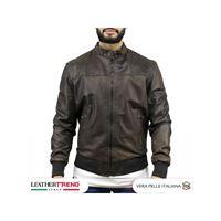 Leather Trend Italy frank - giacca uomo in vera pelle colore testa di moro invecchiato