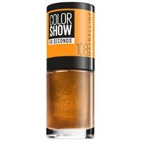 Maybelline 108 - golden sund color show, colore brillante, asciugatura rapida, 90 crystal rocks smalto 7ml