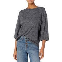 Daily Ritual cozy knit rib blouson-sleeve felpa athletic-shirts, marl pesca chiara, us m (eu m-l)