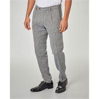 Ashki.i pantalone in principe di galles grigio con una pince in lino e cotone