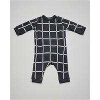 Aventiquattrore tutina grigio antracite con quadri bianchi 3-9 mesi
