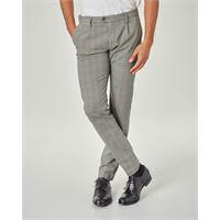 Ashki.i pantalone chino grigio principe di galles con una pinces