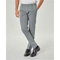 Ashki.i pantalone chino grigio micro-fantasia con una pinces