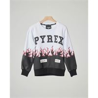 Pyrex felpa bianca e nera con logo e fiamme glitter xs