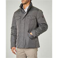Peuterey field jacket stripes grigia in tessuto oxford tecnico