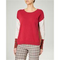 Marella maglia girocollo rossa con inserti di colore bianco e cammello