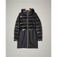 Herno cappotto nero bi-tessuto in velluto effetto glitter e tessuto tecnico 12-14 anni
