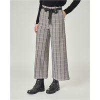 Emme Marella pantaloni culotte in tessuto misto viscosa a fantasia principe di galles con riga viola e rosa