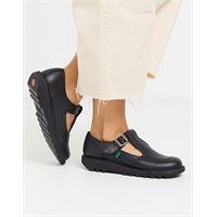 Kickers - kick t - scarpe con cinturino a t in pelle basse nere-nero