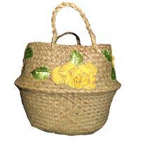 Borsa-cesta a mano marinella noris in rafia con fiori ricamati a mano gialli