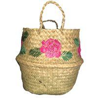Borsa-cesta a mano marinella noris in rafia con fiori ricamati a mano fucsia e verde