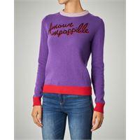 Pinko maglia girocollo viola con scritta jacquard