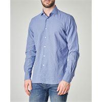 Ashki.i camicia blu indaco in misto lino