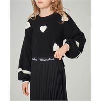 Monnalisa maglia nera con cuori bianchi jacquard e maniche a sbuffo 8-12 anni