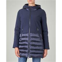 Ciesse Piumini giacca lunga blu in softshel con inserti in tessuto trapuntato e cappuccio