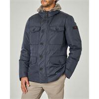 Peuterey field jacket stritch blu in tessuto oxford tecnico e pelliccia sul collo