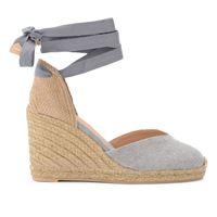 Castañer sandalo con zeppa Castañer chiara in tela e tessuto grigio